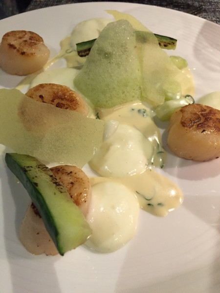 Hot Smoked Scallop with Cucumber Ragout, Potato Mousseline & Cucumber Foam